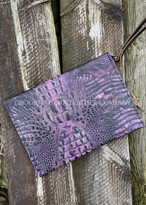 Leather Envelope Clutch In Amethyst Croc With Wristlet Strap Large