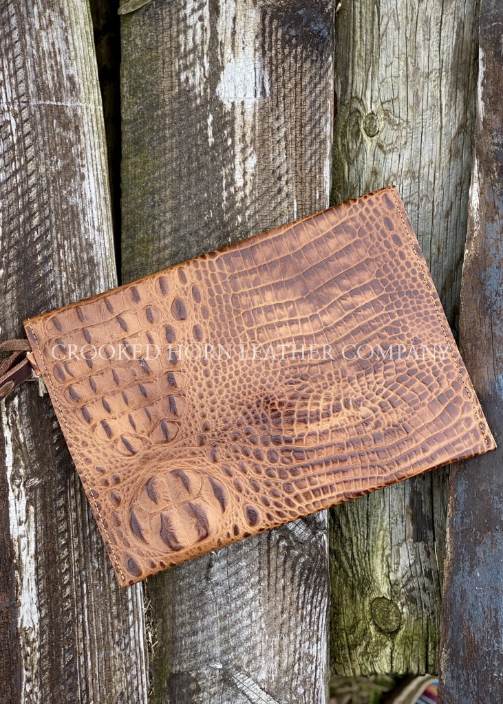 Leather Envelope Clutch In Honey Croc With Wristlet Strap Large