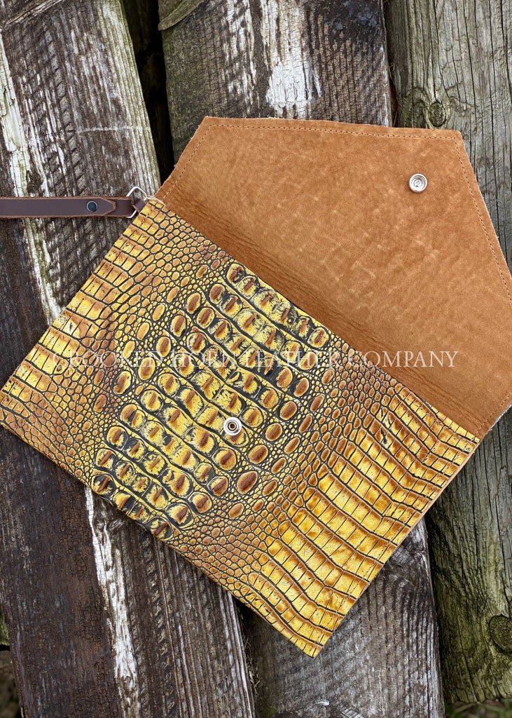 Leather Envelope Clutch In Mustard Croc With Wristlet Strap Large