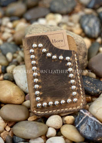 Leather Front Pocket Wallet With Hand-Set Spots
