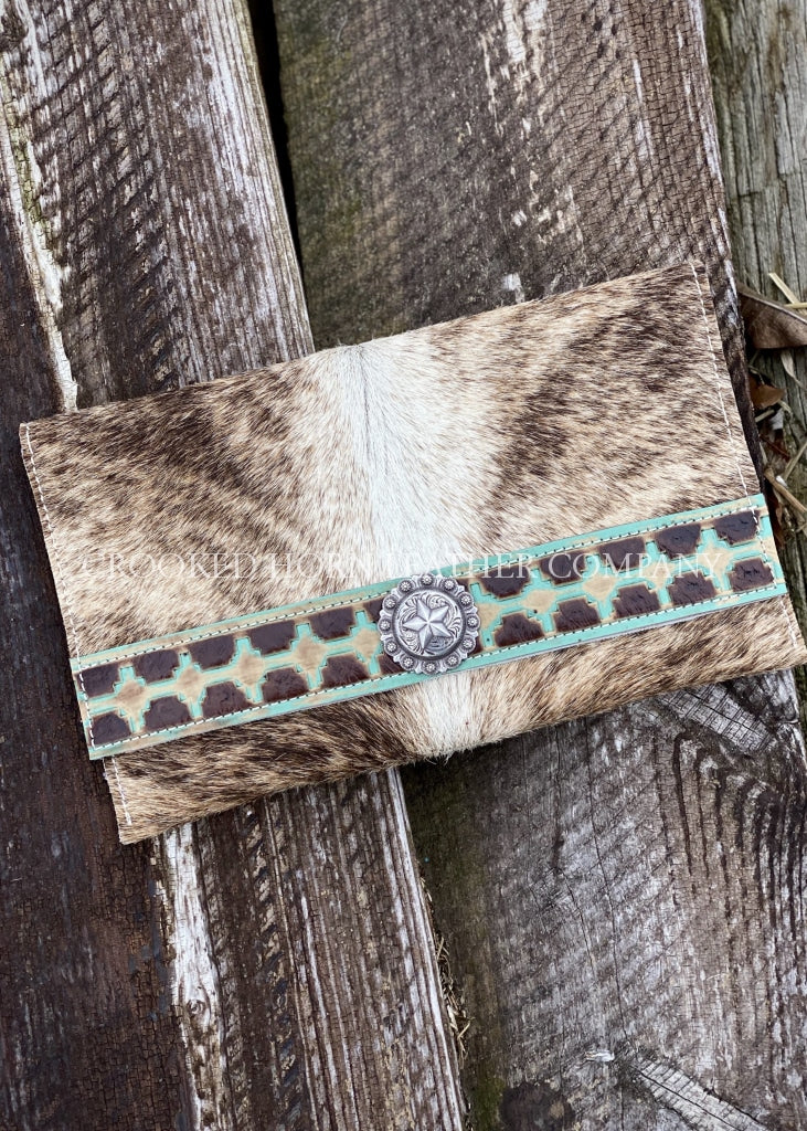 Light Brindle Cowhide Clutch With Aztec Trim Embossed