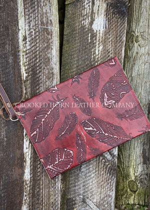 Red Feathers Leather Envelope Clutch With Wristlet Strap Large