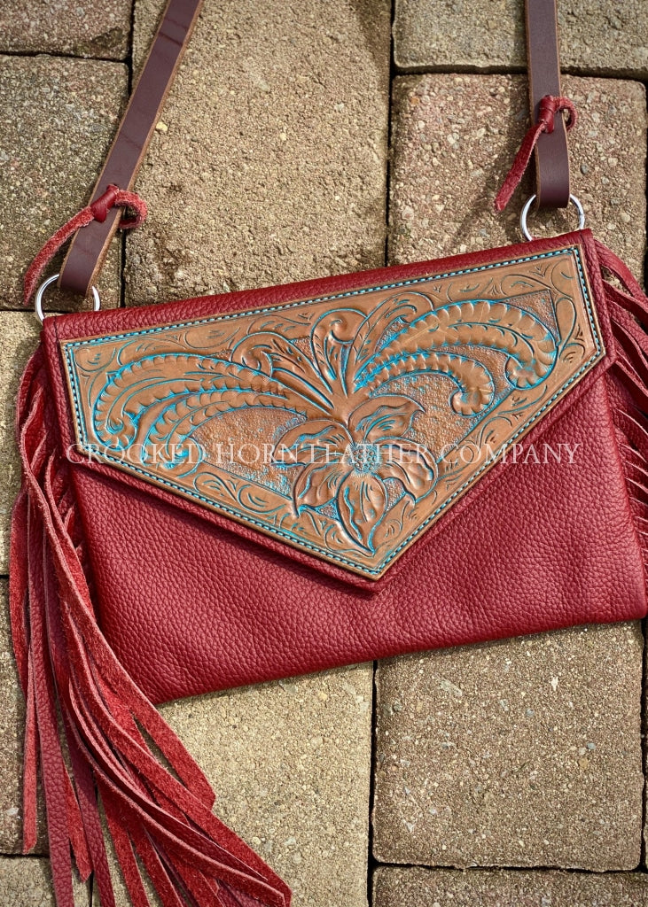 Red Fringe Crossbody With Hand-Tooled Flap Leather Cross-Body Purse