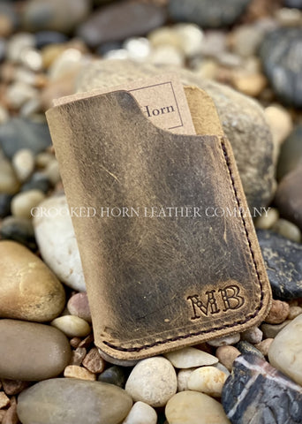 Simple Leather Card Sleeve With Initials Customized