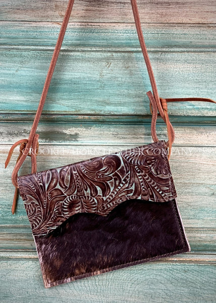 The Canyon Diablo Cross-Body In Chocolate And Turquoise Floral Leather Purse
