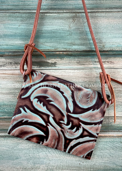 The Canyon Diablo Cross-Body In Cowhide With Turquoise Leaf Leather Purse