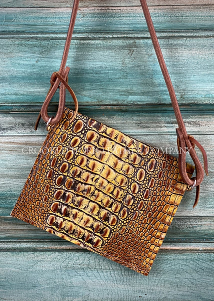 The Canyon Diablo Cross-Body In Mustard Croc Leather Purse
