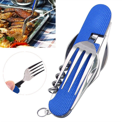 Multifunctional 6 in 1 Stainless Steel Camping Utensil