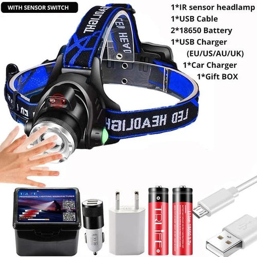 Powerful 20000LM LED Headlamp and Body Motion Sensor
