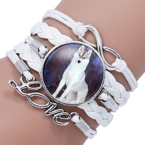 Leather Boho Glass Cabochon Wolf Charm Bracelet Wrap