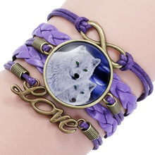 Load image into Gallery viewer, Leather Boho Glass Cabochon Wolf Charm Bracelet Wrap