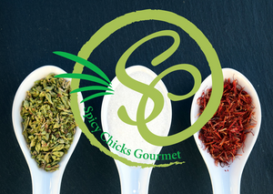 Spicy Chicks Gourment Logo Over Spoons of Seasonings & Spices