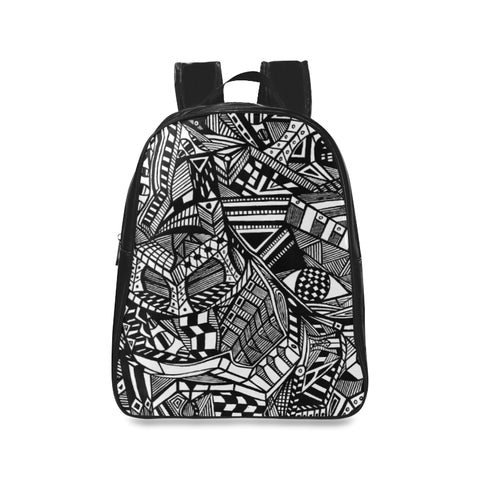 A ABSTRACT BLACK LEATHER School Backpack/Large (Model 1601)