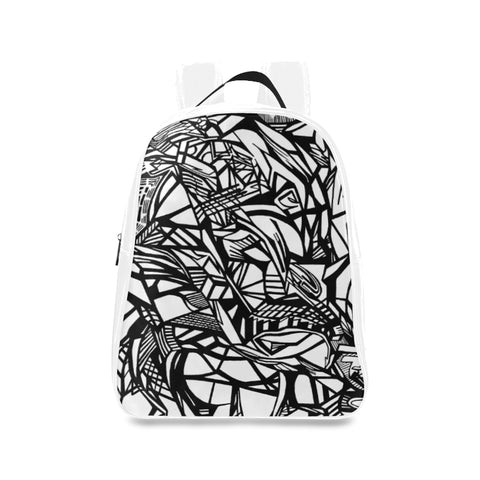 A ABSTRACT WHITE LEATHER School Backpack/Large (Model 1601)