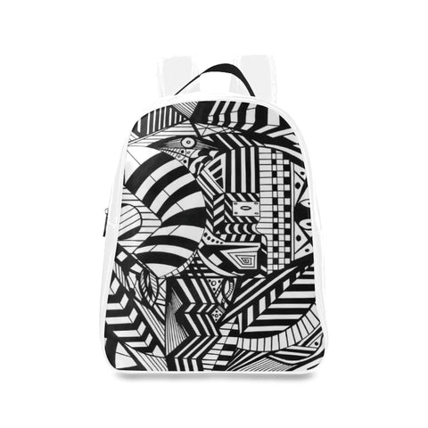 ABSTRACT WHITE LEATHER School Backpack/Large (Model 1601)
