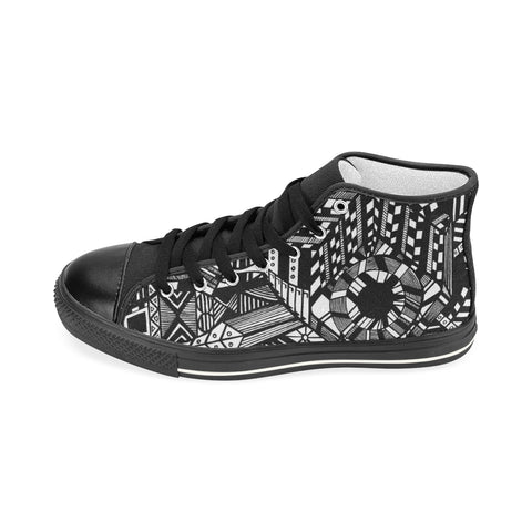 A ABSTRACT M HIGH TOP Men's Classic High Top Canvas Shoes (Model 017)