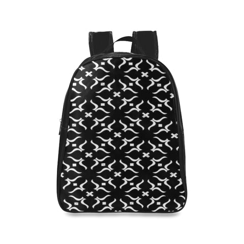 ABSTRACT BLACK LEATHER School Backpack/Large (Model 1601)