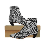 ABSTRACT W BOOT Women's Pointed Toe Low Heel Booties (Model 052)