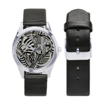 Unisex Silver-Tone Round Leather Watch (Model 216)