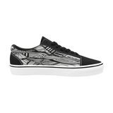 BLACK - WHITE LOW Women's Low Top Skateboarding Shoes (Model E001-2)