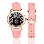 zzz-DONATE TO CANCER RESEARCH WITH THE TEAM MIRTO WOMEN'S ROSE GOLD - PINK LEATHER STRAP WATCH