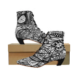 A ABSTRACT W BOOT Women's Pointed Toe Low Heel Booties (Model 052)