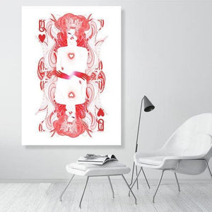 [Queen of Hearts playing cards Limited edition art print] - Noumeda Carbone Art
