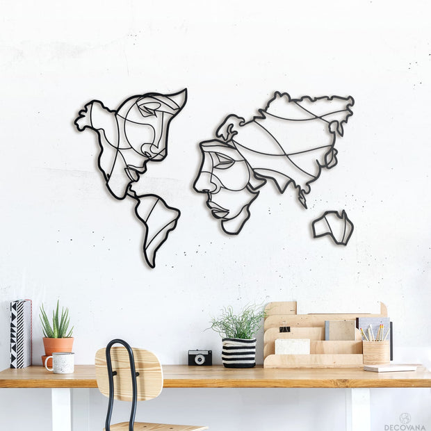 Faces Of World Map - 105Cm X 60Cm - Metal Deco
