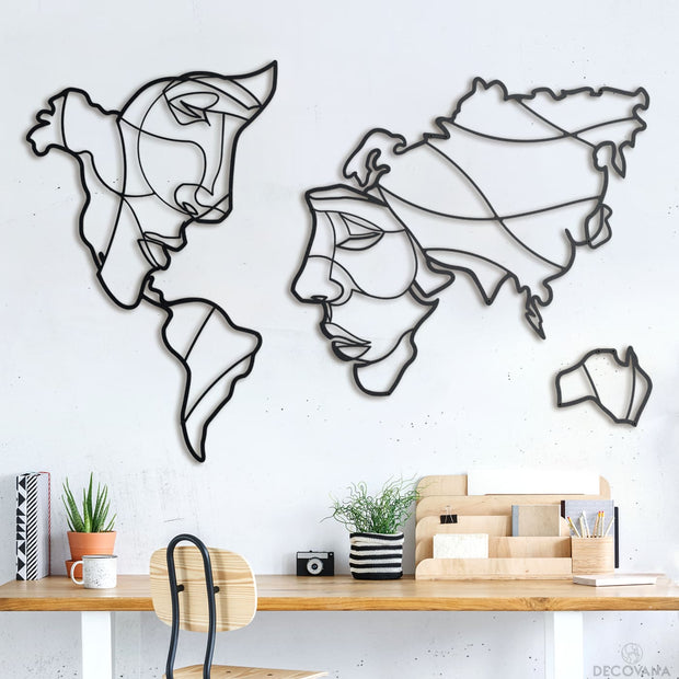 Faces Of World Map - 146Cm X 94Cm - Metal Deco