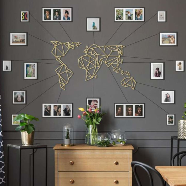 World Map Gold - Metal Deco