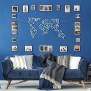 World Map White - Metal Deco