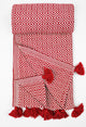Ruby-Red With Red Fringe Beach/Bath/Spa Turkish Towel - Haremliq