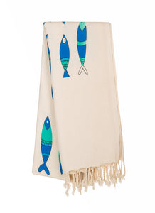 Eagen Fishes-Special Design Cotton Peshtemal Towel - Haremliq