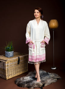 For You-100% Premium Turkish Cotton Pink/Blue Peshtemal Robe - Haremliq