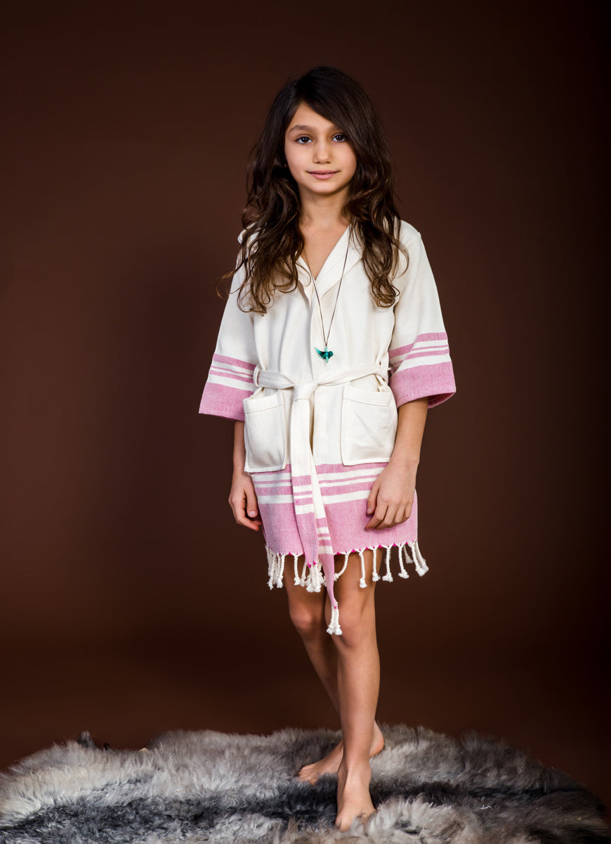 For Your Loved Ones-100% Premium Turkish Cotton Pink/Blue Peshtemal Robe For Kids