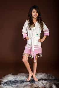 For Your Loved Ones-Pink/Blue Peshtemal Robe For Kids - Haremliq