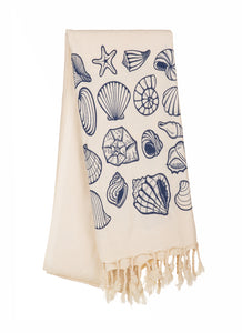 Seashell-Special Design Cotton Blue Peshtemal Towel - Haremliq