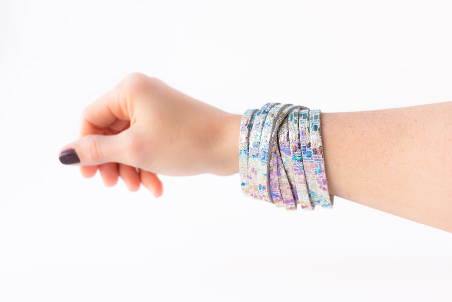 Leather Bracelet / Original Sliced Wrap Cuff / Woven Oil Spill / Extra Large