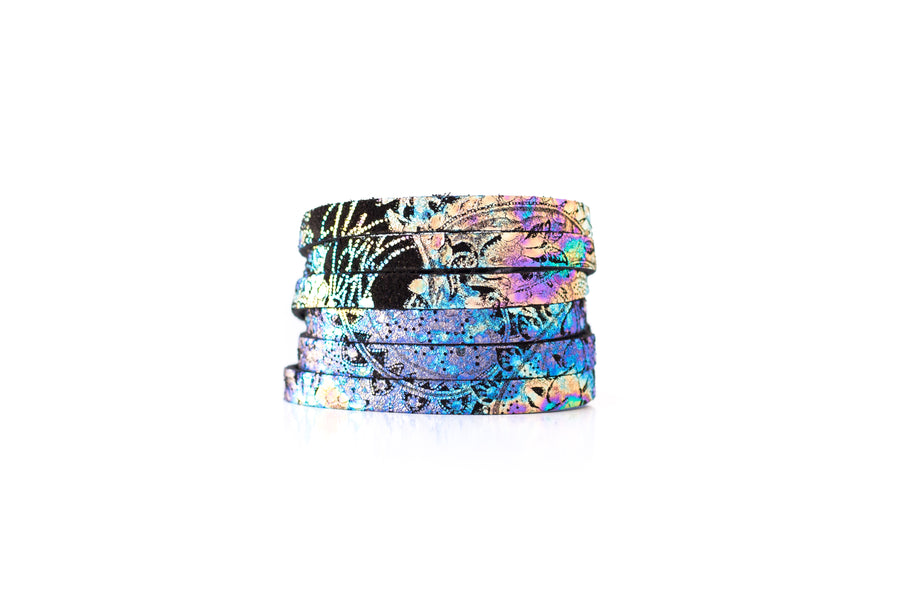 Leather Bracelet / Skinny Sliced Wrap Cuff / Cosmic Midnight / Extra Large