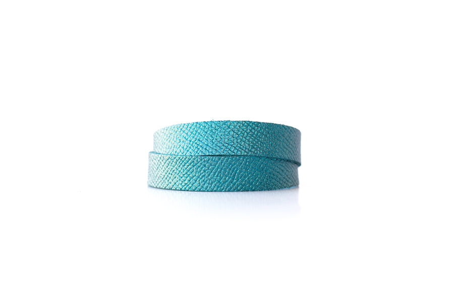 Leather Bracelet / Slim Wrap Cuff / Teal Quartz Shimmer / Small