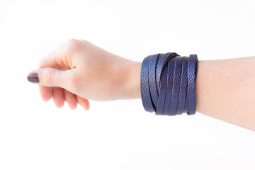 Leather Bracelet / Original Sliced Wrap Cuff / Sapphire Shimmer / Regular