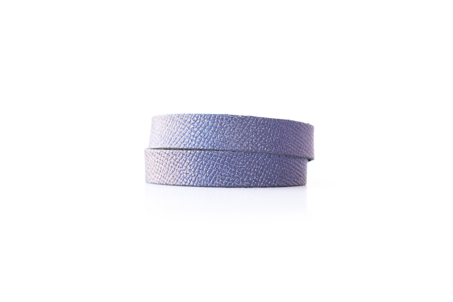 Leather Bracelet / Slim Wrap Cuff / Sapphire Shimmer / Extra Large