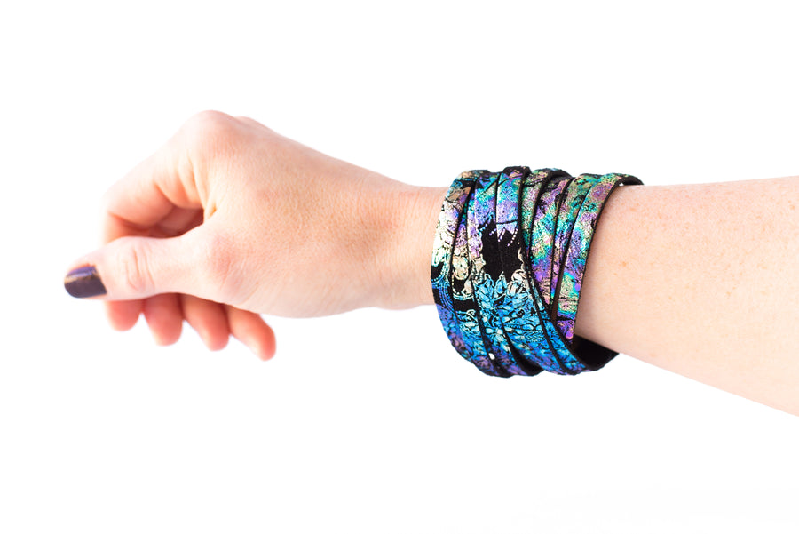 Leather Bracelet / Original Sliced Wrap Cuff / Cosmic Midnight / Extra Large