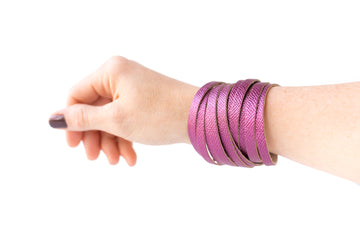 Leather Bracelet / Original Sliced Wrap Cuff / Pink Sapphire Shimmer / Large