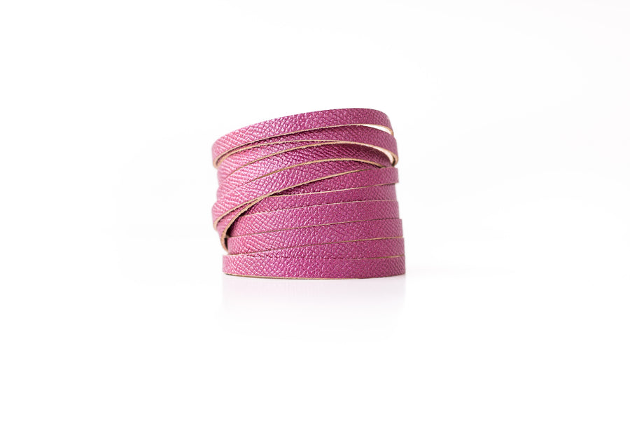 Leather Bracelet / Original Sliced Wrap Cuff / Pink Sapphire Shimmer / Extra Large