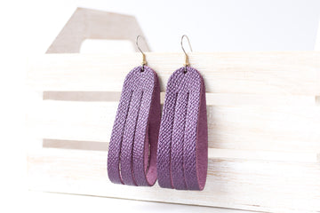 Leather Earrings / Sliced Leather / Amethyst Shimmer