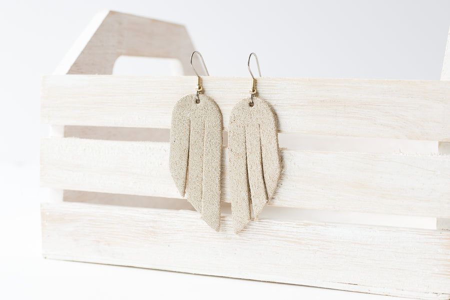 Leather Earrings / Mini Fringe / Champagne Shimmer