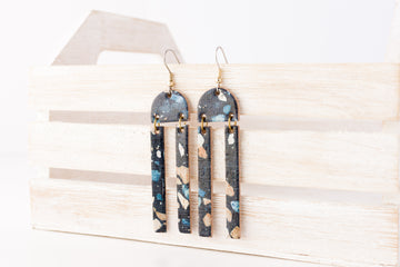 Leather Earrings / Sunrays / Dark Terrazzo Cork