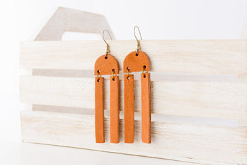 Leather Earrings / Sunrays / Sandstone