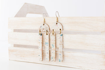 Leather Earrings / Sunrays / Light Terrazzo Cork